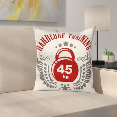 Fitness Vintage Gym Emblem Square Pillow Cover Size: 16 x 16