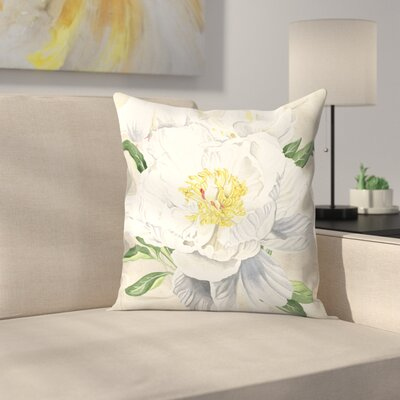 White Peony Throw Pillow Size: 14 x 14
