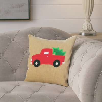 Barret Christmas Truck Burlap Cotton Pillow Cover