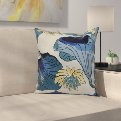 Meekins Floral Print Indoor/Outdoor Throw Pillow Color: Teal, Size: 18 x 18