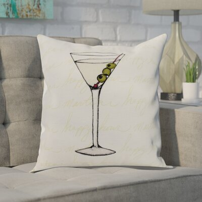 Crosswhite Martini Glass Text Fade Print Indoor/Outdoor Throw Pillow Color: Light Green, Size: 16 x 16