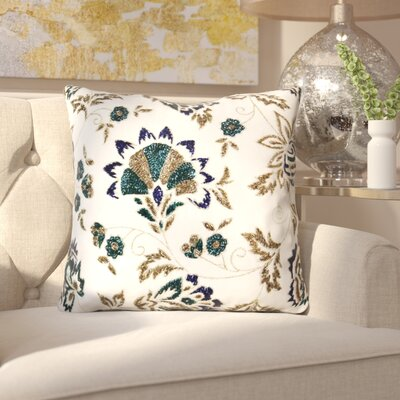 Iliana Handcrafted Floral Beaded 100% Cotton Throw Pillow