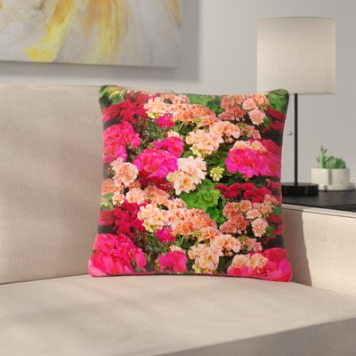 Louise Machado Geranios Floral Outdoor Throw Pillow Size: 18 H x 18 W x 5 D