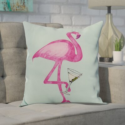 Carmack Single Flamingo Throw Pillow Color: Aqua, Size: 16 x 16