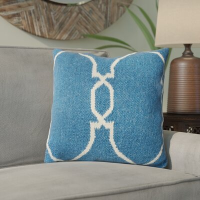 Cosima Throw Pillow Size: 22 H x 22 H x 4 D, Color: Blue / Ivory, Filler: Down
