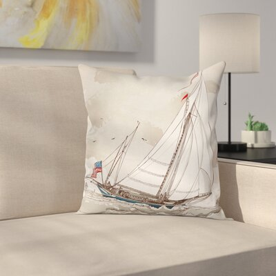 Antique American Yacht Square Pillow Cover Size: 24 x 24