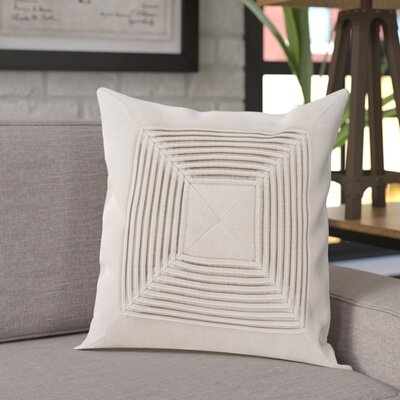 Stolp Textured Cotton Throw Pillow Color: Beige, Size: 22 H x 22 W x 5 D, Type/Fill: Pillow With Down Insert