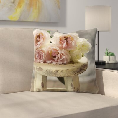 Roses on Stool by Cristina Mitchell Throw Pillow Size: 18 H x 18 W x 3 D