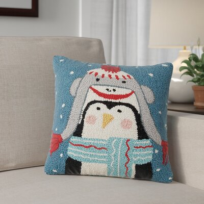 Holiday Penguin Wool Throw Pillow
