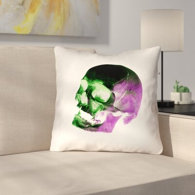 Skull Outdoor Throw Pillow Color: Green/Purple/Black/White, Size: 20 x 20