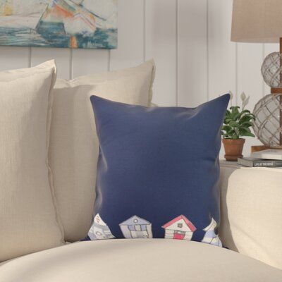 Crider Beach Huts Geometric Print Indoor/Outdoor Throw Pillow Color: Navy, Size: 18 x 18
