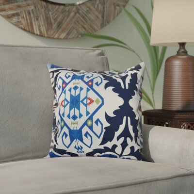 Oliver Bombay Medallion Geometric Print Throw Pillow Size: 20 H x 20 W, Color: Navy Blue