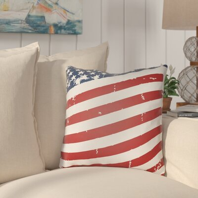 Saratoga Americana III Indoor/Outdoor Throw Pillow Size: 20 H x 20 W x 4 D, Color: Red / Blue