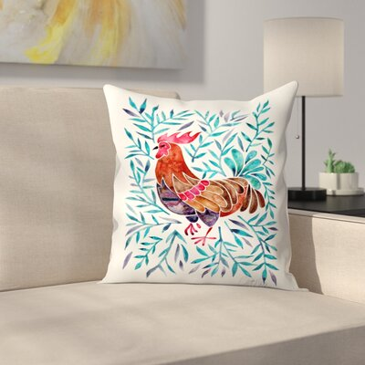 Cat Coquillette Lecoq Leaves Throw Pillow Color: Mint/Red, Size: 14 x 14