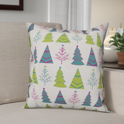 Christmas Tree Pattern Throw Pillow Throw Pillow Size: 16 x 16, Type: Pillow Cover