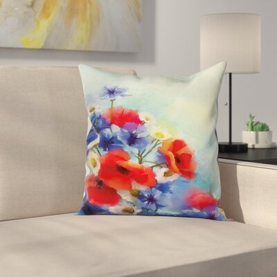 Floral Poppy Chamomile Bouquet Square Pillow Cover Size: 24 x 24