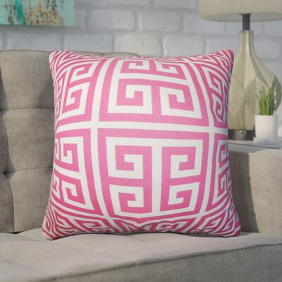 Dufault Greek Key Cotton Throw Pillow Cover Color: Candy Pink