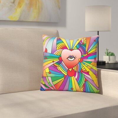 Heart Eye Throw Pillow Color: Red/Yellow