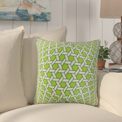 Tarek Geometric Cotton Throw Pillow Color: Green