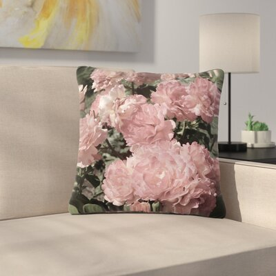 Susan Sanders Blush Flowers Floral Photography Outdoor Throw Pillow Size: 18 H x 18 W x 5 D