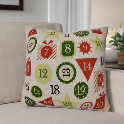 Advent Calendar Outdoor Throw Pillow Size: 16 H x 16 W, Color: Red