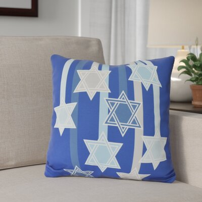 Shooting Stars Geometric Print Outdoor Throw Pillow Size: 16 H x 16 W, Color: Royal Blue