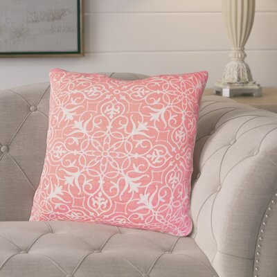 Amicia Embroidered Throw Pillow Color: Coral