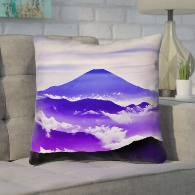 Enciso Fuji Double Side Throw pillow Size: 18 H x 18 W, Color: Blue/Purple