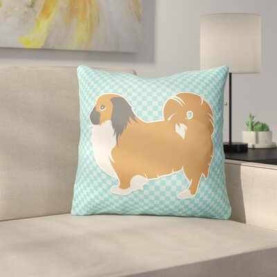 Pekingese Square Indoor/Outdoor Throw Pillow Size: 14 H x 14 W x 3 D, Color: Blue