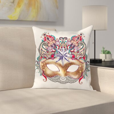 Mardi Gras Venetian Ornate Mask Square Cushion Pillow Cover Size: 18 x 18