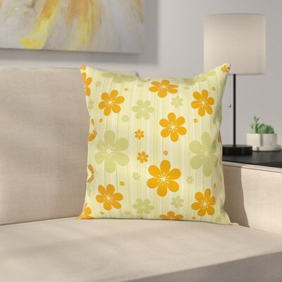 Modern Waterproof Floral Pillow Cover with Zipper Size: 16 x 16