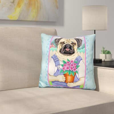 Pug Flower Pot Throw Pillow