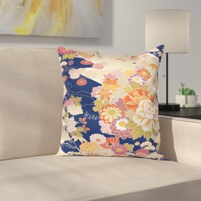 Japanese Traditional Flowers Square Pillow Cover Size: 24 x 24