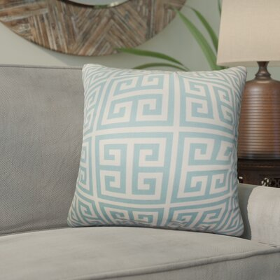 Yula Greek Key Cotton Throw Pillow Color: Blue