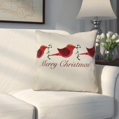 Decorative Holiday Word Print Throw Pillow Size: 16 H x 16 W, Color: Red