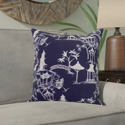 Hirst Chinapezka Print Indoor/Outdoor Throw Pillow Color: Navy Blue, Size: 16 x 16
