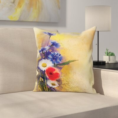 Floral Poppy Chamomile Spring Square Pillow Cover Size: 24 x 24