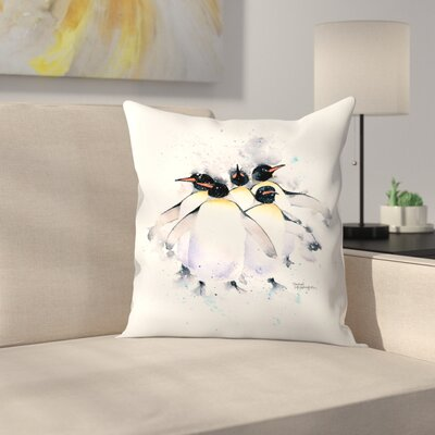 5 Penguins Throw Pillow Size: 14 x 14