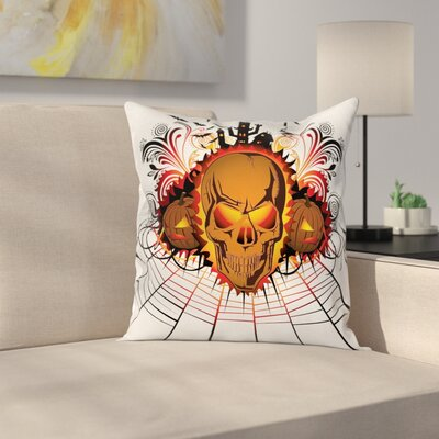 Halloween Decor Skull Witch Square Pillow Cover Size: 16 x 16