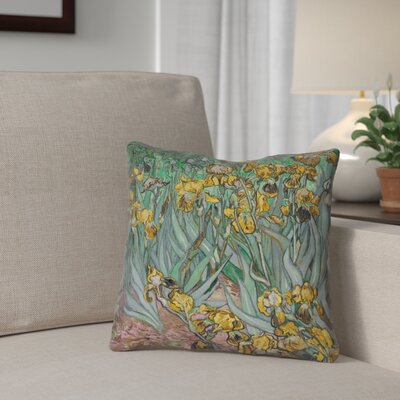 Bristol Woods Irises Square Throw Pillow Color: Yellow/Blue, Size: 16 x 16