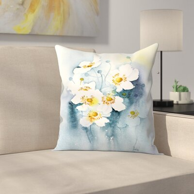 White Anemones Throw Pillow Size: 18 x 18