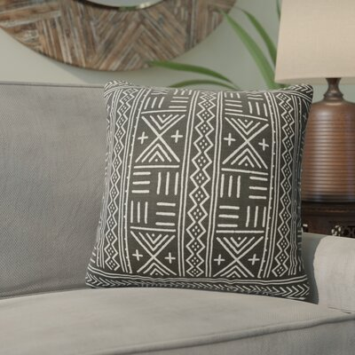 Bemelle Mud Cloth Geometric Throw Pillow Size: 24 H x 24 W, Color: Black/ Ivory