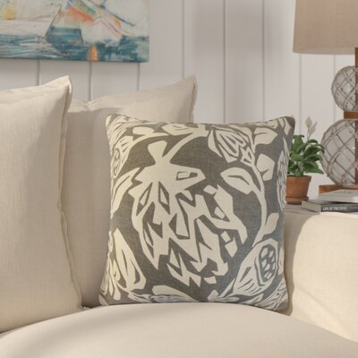 Eswer Foral Cotton Throw Pillow Color: Gray