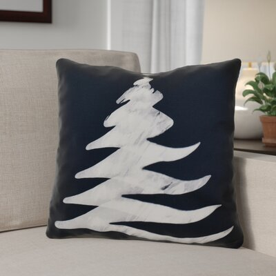 Decorative Christmas Tree Print Outdoor Throw Pillow Size: 16 H x 16 W, Color: Navy Blue