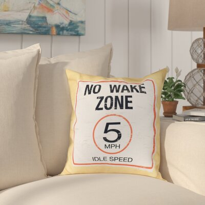Golden Beach No Wake Word Outdoor Throw Pillow Size: 20 H x 20 W, Color: Yellow