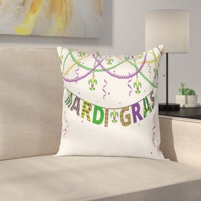 Mardi Gras Fleur De Lis Beads Square Cushion Pillow Cover Size: 18 x 18