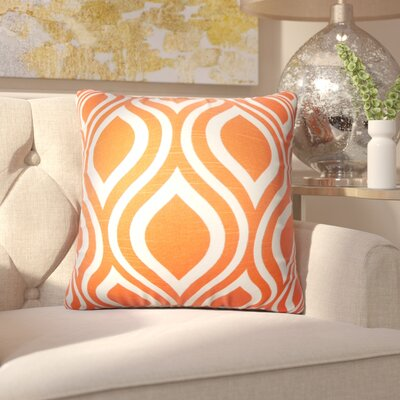 Aiello Geometric Cotton Throw Pillow Color: Orange