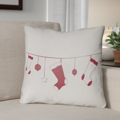 Socks Indoor/Outdoor Throw Pillow Size: 18 H x 18 W x 4 D, Color: White / Red