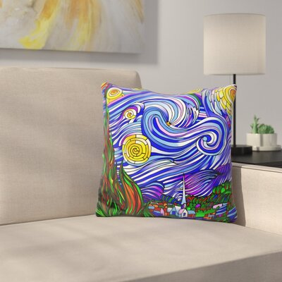 Starry Night Throw Pillow Color: Blue/Yellow