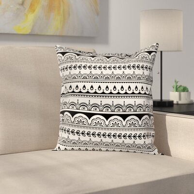 Ethnic Borders with Leaf Cushion Pillow Cover Size: 16 x 16